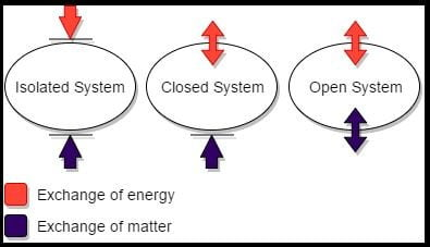 Properties of Isolated, closed, and open systems in exchanging energy and matter