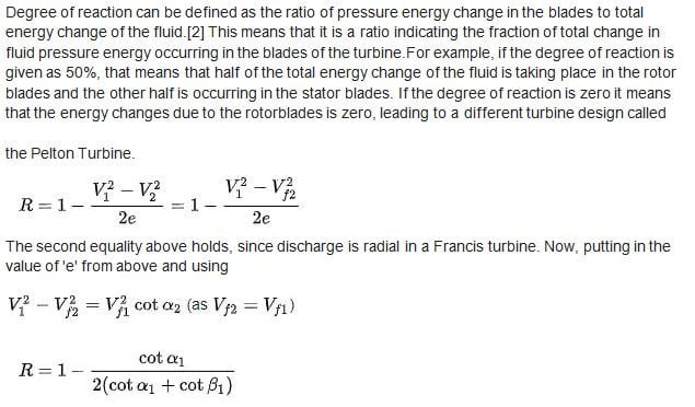 Degree of reaction of francis turbine