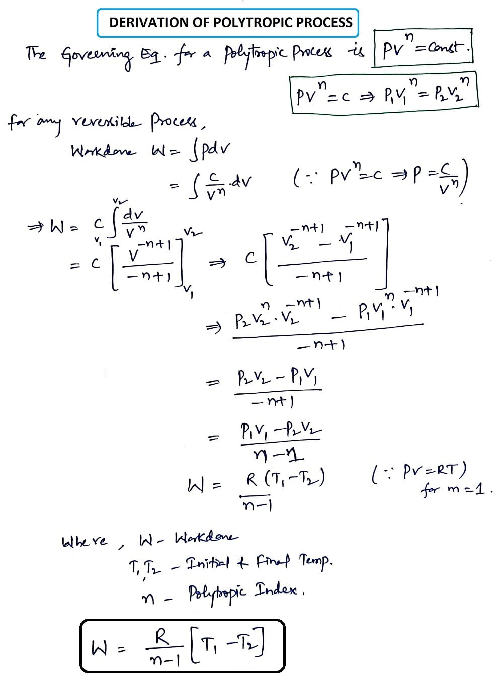 Derivation of Polytropic Process